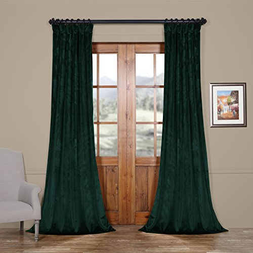 Green Heritage Kitchen - HPD HALF PRICE DRAPES VPYC-179759-108 Heritage Plush Velvet Curtain, 50 x 108, Forestry Green