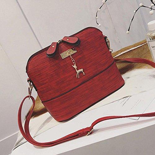 Tote Shoulder Leather Small Shell Bag Bag Handbag Women Red Vintage Retro Lady Shoulder TOOPOOT xUTfw4Bqp