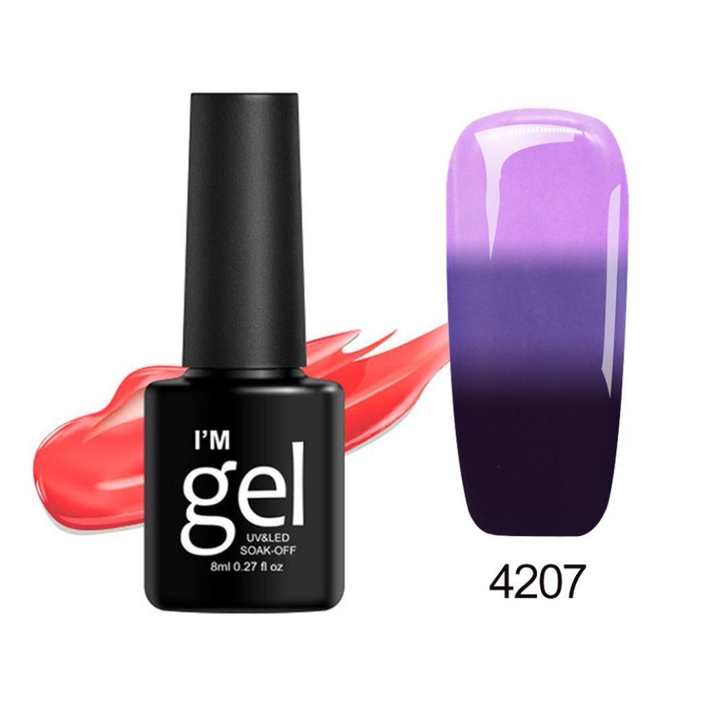 â¤JPJ(TM)❤️ Girls Nail Art Polish- Color Changing Nail Polish-Thermal Nail Polish-Peel Thermal -Ultra-thin Glitter Soak Off-8ml-Best Decoration For Your Nail (G)