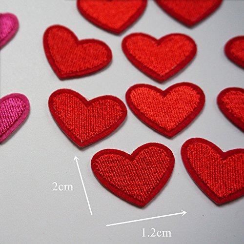 Cdet 10 x Toppe Moda Cuore Ricamato Adesivi di Tessuto DIY Toppa Applique Vestiti Zaino Cucito Riparazione Toppe Accessori 5 x 4,2 cm Rosso