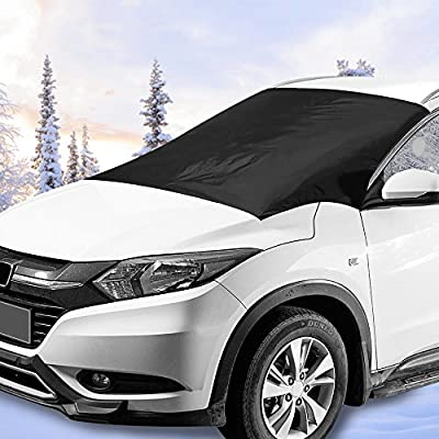 """Windshield Snow Car Cover with 6X Magnetic Edges 2win2buy Windproof & Dustproof Front Window Car Cover Frost & Ice Removal Protect Wipers Easy Installation Fit Most Trucks Cars Vans – 84""""x50"""""""