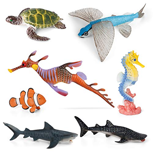 Ocean Figurines Animal Toys VOLNAU 7PCS Indian Sea Creatures Figures for Toddlers Kids Sea Life Toy Pack Preschool and Bath Plastic Fish Toy Penguin Sea Turtle Shark Sets, BPA Free