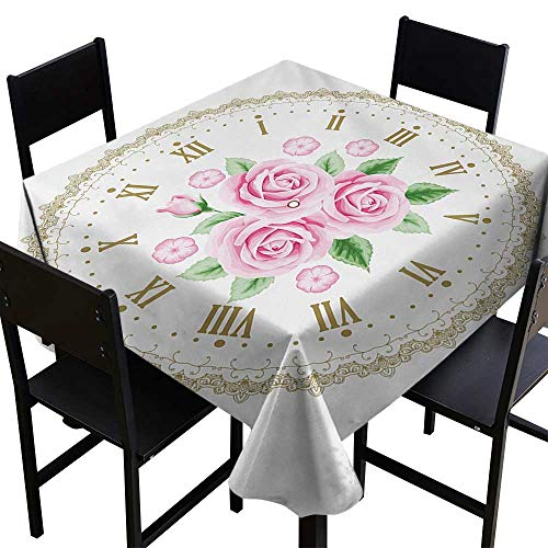 All of better Shabby Chic Tablecloth Custom Vintage Clock Face Roses Roman Numbers Antique Vintage Style 70 inch Square Tablecloth Pale Pink Green Dark ()