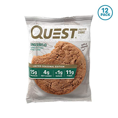 Quest Nutrition Gingerbread Protein Cookie, High Protein, Low Carb, Gluten Free, Soy Free, 12 Count