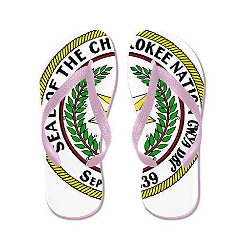 Cafepress Stor Sigill Cherokee Nation - Flip Flops, Roliga Rem Sandaler, Strand Sandaler Rosa