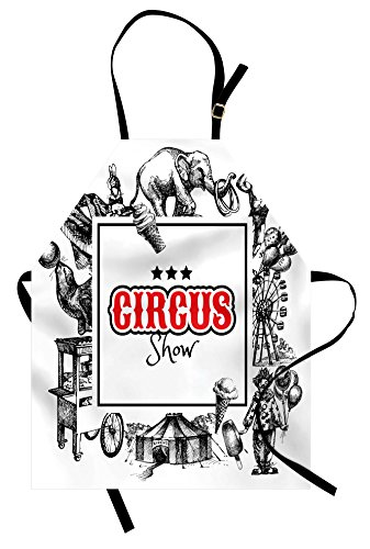 Ambesonne Vintage Apron, Circus Show Logo with Magician Elephant Creepy Tricks Performance Sketchy Artwork, Unisex Kitchen Bib Apron with Adjustable Neck for Cooking Baking Gardening, Orange Black]()