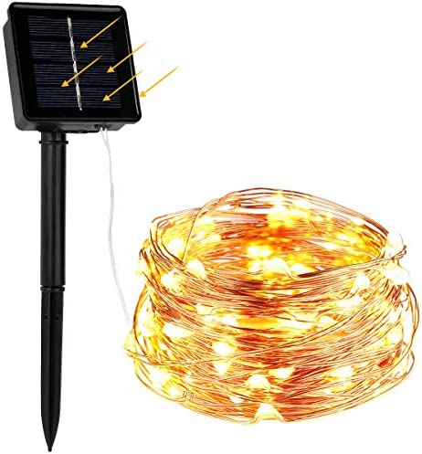 WAAO Solar String Lights, 33ft 100LED Outdoor String Lights, Waterproof Decorative String Lights for Patio, Garden, Home, Gate, Yard, Party, Wedding, Christmas Warm White