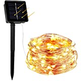 WAAO Solar String Lights, 33ft 100LED Outdoor String Lights, Waterproof Decorative String Lights for Patio, Garden, Home, Gate, Yard, Party, Wedding, Christmas (Warm White)