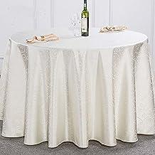 Svolite Round Polyester Tablecloths Beige (70 x 70 inch(180cm) round)