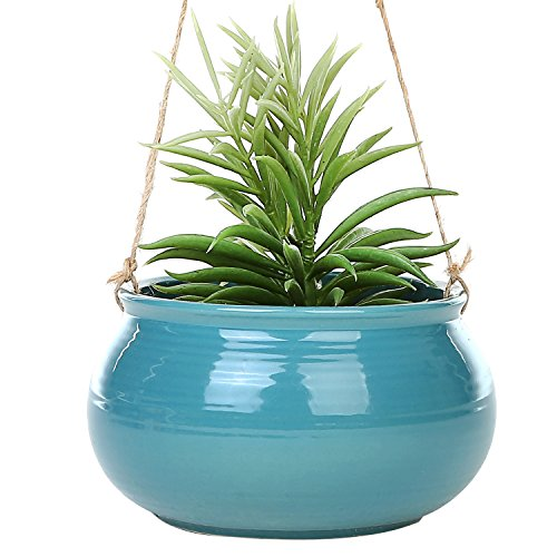 Mediterranean Style Round Cerulean Succulent Hanging Planter Pot with Twisted Jute Twine Rope