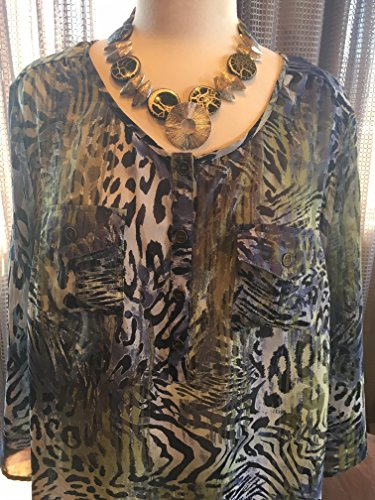 Custom Couture 1X Blue Green animal print tunic with custom green and silver geometric necklace 1481