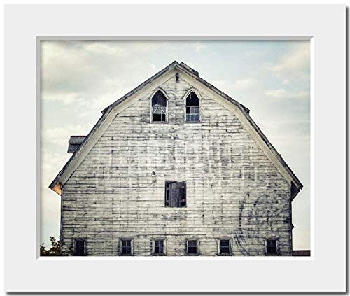 Shabby Chic White Barn Farmhouse Home Decor Matted 8x10 Photograph Print (fits 11x14 Frame). Country Wall Decor in Blue Gray White.