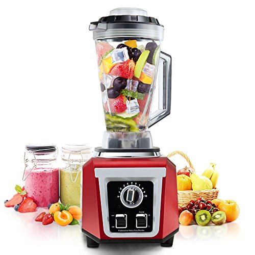 Posame PS-BR1701RD Smoothie Blender 1500W High Speed 30000RPM Kitchen Multifunctional Soup Maker 76Oz,10 Speed Setting Heating Function (Red and Silver) ()