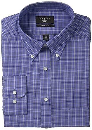 Dockers Men's Non-Iron Classic Fit Small Check Dress Shirt, Dark Blue, 18.5x34/35