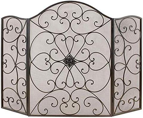 LJFPB 暖炉スクリーン 錬鉄3パネル ファイアースクリーンスパークガード ブラックメッシュ ベビーチルドレン保護用 50×35.4in、スクロールワークデザイン (Color : Black)