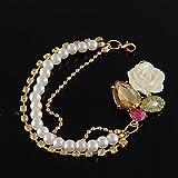 Sumanee Rose Flowers Pearl Crystal Bracelet Rhinestone Vintage Gold Tone Charm Jewelry