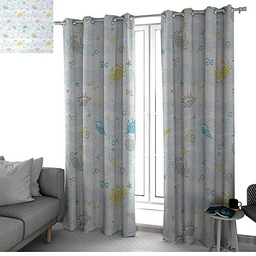 bybyhome Crabs Window Treatments Draperies for Bedroom Maritime Sea Theme Crabs and Seashells Animals on The Spotted Background Print Curtains for Living Room Blue and Yellow W120 x L108 Inch