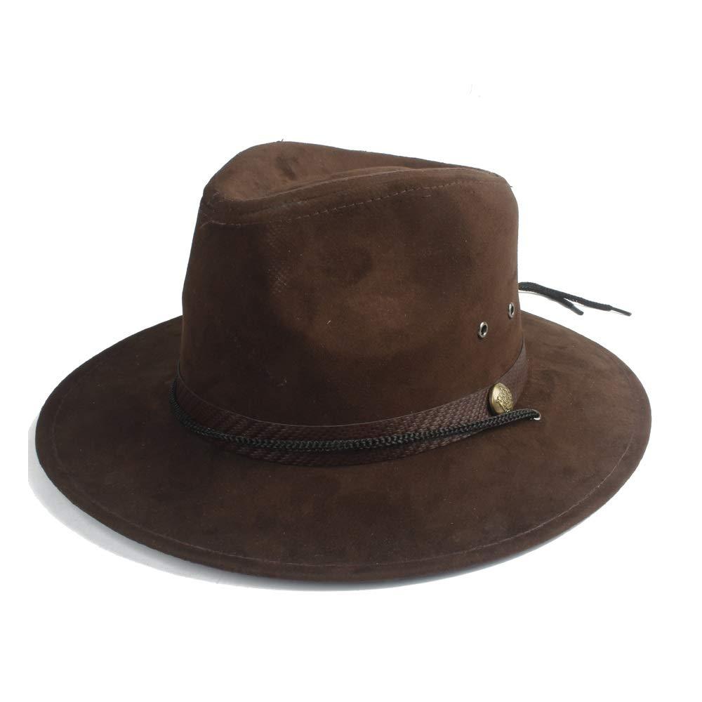 YUXUJ Sun Hat Ladies Straw Men Hat Leather Woven Belt Spring Summer Sunscreen Cap Beach Big Panama Elegant Hat Color : Light Khaki, Size : 56-58CM