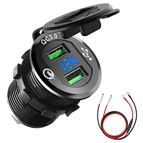 Price comparison product image Quick Charge 3.0 Car Charger, CHGeek 12V/24V 36W Waterproof Dual QC3.0 USB Fast Charger Socket Power Outlet with LED Digital Voltmeter for Marine, Boat, Motorcycle, Truck, Golf Cart and More (Black)