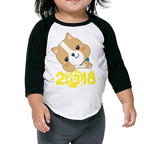 Unisex Toddler 2018 Cute Dog Chines New Year Raglan 3/4 Sleeve Baseball T Shirt Jersey Tee Plain Crewneck - Malls Chicago In Top