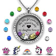 My Daughter Necklace, Mother Daughter Necklace DIY Jewelry Gift | Father Daughter Necklace | Charm Necklace Set for Daddys Little Girl | Stainless Steel 30mm Floating Locket Necklace Set of Charms