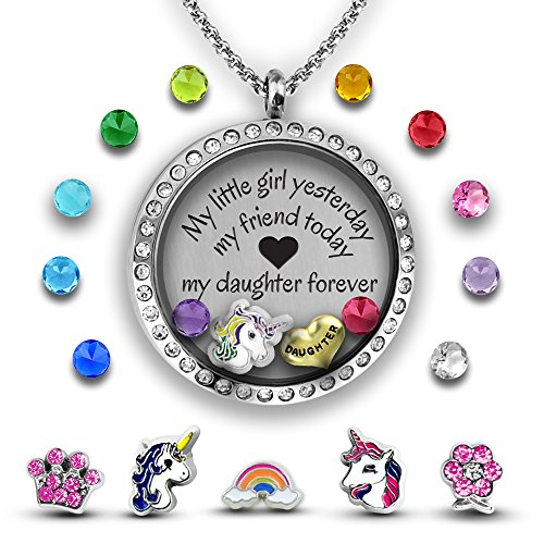 My Daughter Necklace, Mother Daughter Necklace DIY Jewelry Gift   Father Daughter Necklace   Charm Necklace Set for Daddys Little Girl   Stainless Steel 30mm Floating Locket Necklace Set of (Crystal Crown Charm Necklace)