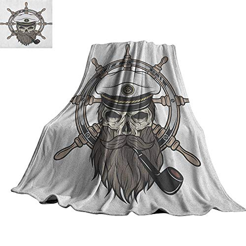 RenteriaDecor Skull,Printed Throw Blanket Captain Pirate Skull in Sailor Hat with Beard and Pipe Nautical Theme Print Custom Blankets 80