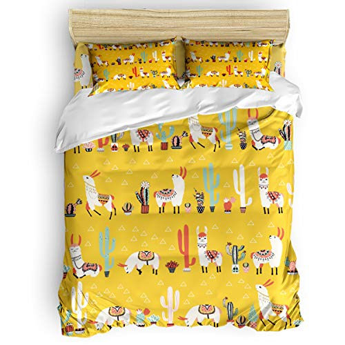 Home Bedding Set 4 Pieces Full Size for Adults/Teens/Children/Baby Lovely Cartoon Camel Cactus Printed Bed Sheets, Duvet Cover, Flat Sheet, Pillow Covers