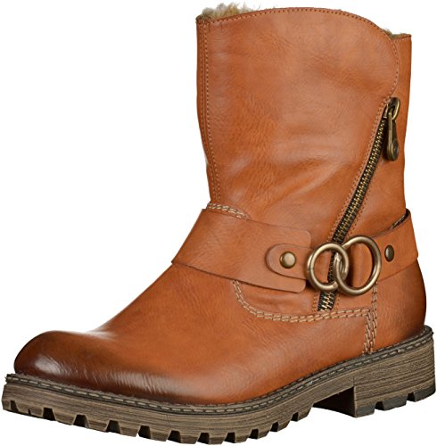 RIEKER WOMENS WIDE FIT BIKER BOOTS Brown