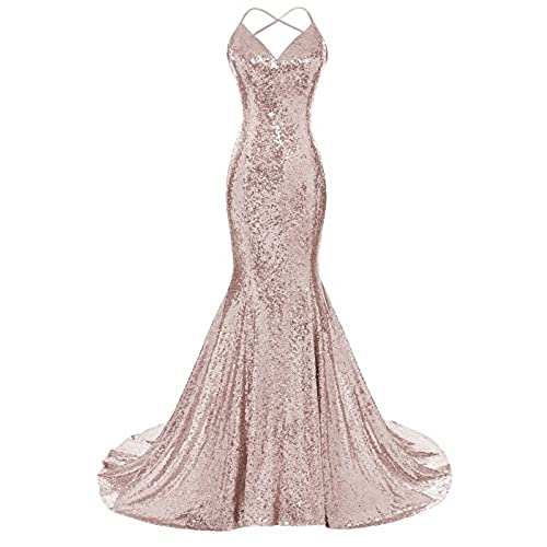 DYS Womens Sequins Mermaid Prom Dress Spaghetti Straps V Neck Backless Gowns Rose Gold US 4