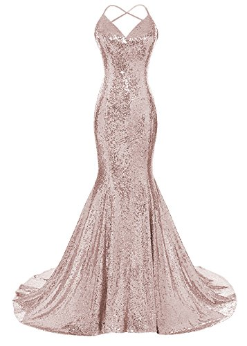 DYS Women's Sequins Mermaid Prom Dress Spaghetti Straps V Neck Backless Gowns Rose Gold US 0