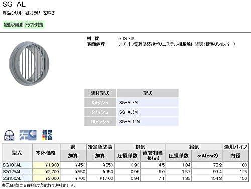 ユニックス 屋外用製品 ステンレス製 グリル SG125AL 厚型グリル 縦ガラリ 左吹き 5メッシュ