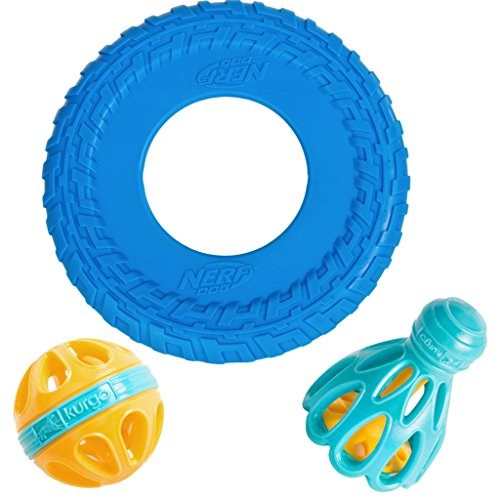 Kurgo Dog Toy Set by Happa Style - Nerf Dog Tire Tread Flyer