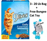 9Lives Daily Essentials Dry Cat Food (Daily Essentials, 20 Lbs - 3 Bag + Free Toy)