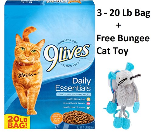9Lives Daily Essentials Dry Cat Food (Daily Essentials, 20 Lbs - 3 Bag + Free Toy) by 9Lives