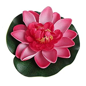 LANDUM Artificial Fake Floating Flowers Lotus Water Lily Plants Garden Tank Pond Decor 83