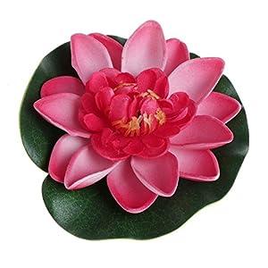 LANDUM Artificial Fake Floating Flowers Lotus Water Lily Plants Garden Tank Pond Decor (Light Pink) 57