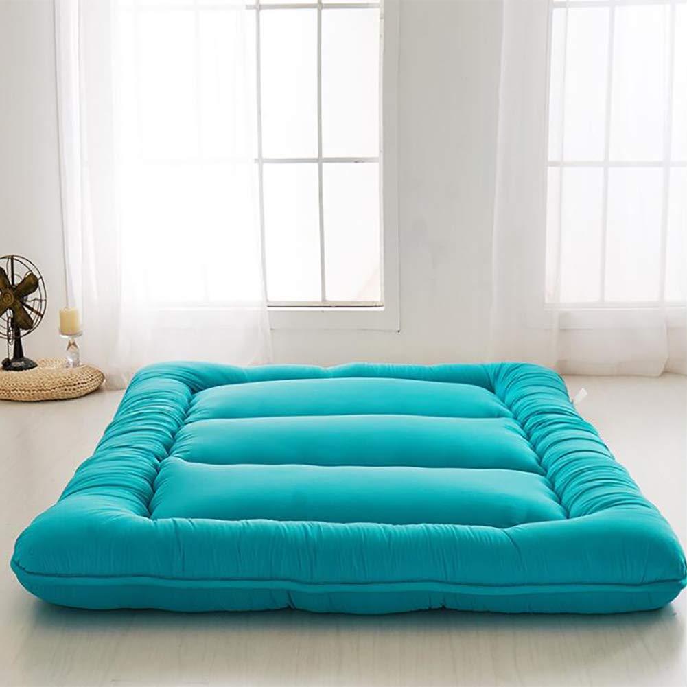 厚め ベッドパッド, 和風 布団 マットマット 柔らか 式 マットレスをロールアップします。 の 1 ダブル マットレス ホーム 学校-ブルー B07RZ833XW