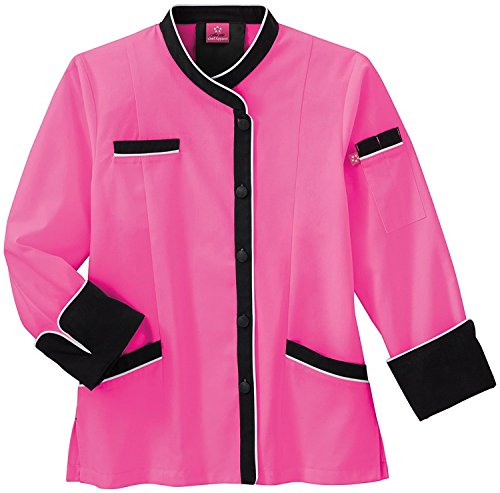 Five Star Chef Apparel Ladies Long Sleeve Executive Coat with Moisture Wicking Mesh Back (Posh Pink, Small) - Ladies Executive Chef Coat