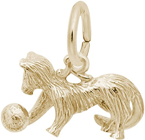 Rembrandt Playful Cat Charm - Metal - Gold-Plated Sterling Silver