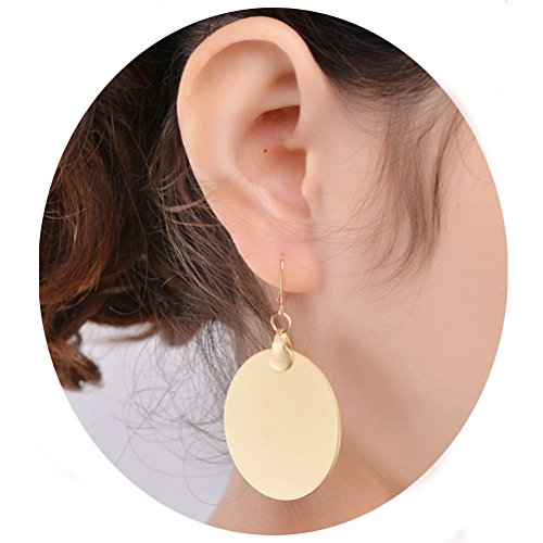 Gold Tone Metal Earrings (Fancymix Shiny Sequins Beauty Gold Tone Metal Circle Disc Drop Earrings for Women)