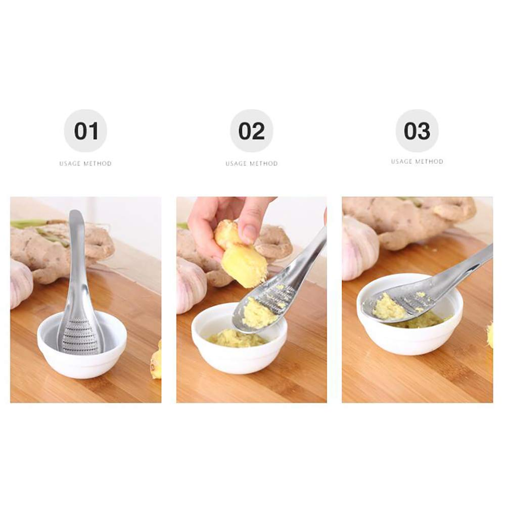 1 Pc Stainless Steel Garlic Ginger Grater Grinder Spoon Stainless Steel Garlic Ginger Fruits Root Vegetable Grater Grinder Spoon Kitchen Accessories