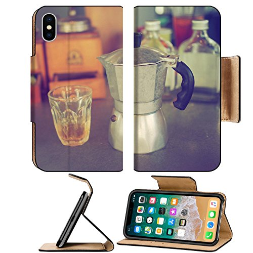 Luxlady Premium Apple iPhone X Flip Pu Leather Wallet Case IMAGE ID: 34010862 coffee maker espresso machine on the table wood vintage color