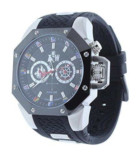 Technosport TS-100-SAIL3 Men's Watch Silver-Tone/Black Sailing Collection Swiss Day/Date Movement