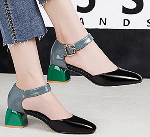 Carré Vert Sandales Bout Escarpins Chunky Femme Easemax Simple Talon wt6qZ4txp