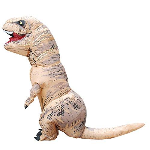 Kids Inflatable T-rex Dinosaur Costume Kids Dinosaur Halloween Suit (Brown)