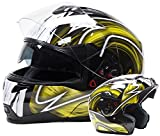 Dual Visor Modular Flip Up Helmet - Black / Yellow ( Medium )