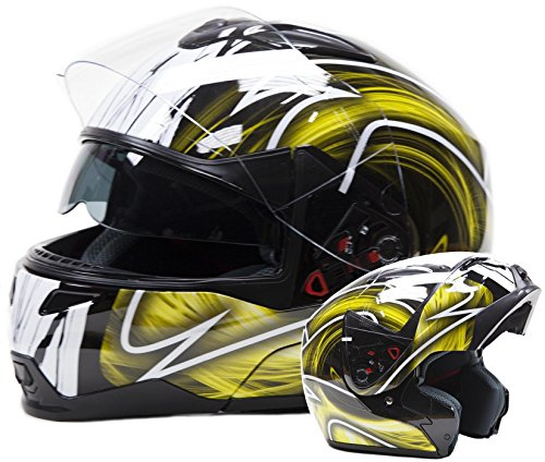 Typhoon Modular Motorcycle Helmet DOT Dual Visor Full Face Flip-up - Yellow Small (Yellow Motorcycle Helmet)