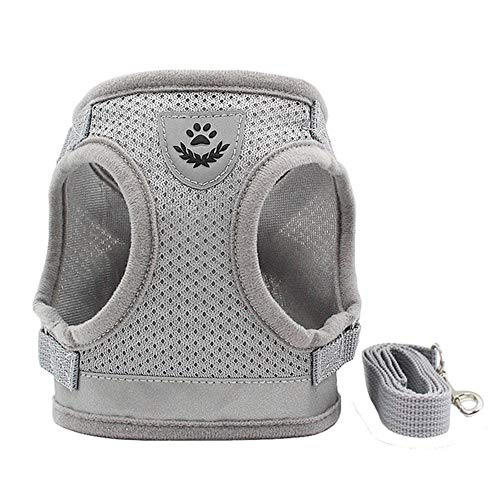 &liyanan Dog and Cat Universal Harness with Leash Set, Escape Proof Cat Harnesses - Adjustable Reflective Soft Mesh Corduroy Dog Harnesses - Best Pet Supplies,Gray,XL