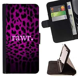 BullDog Case - FOR/HTC Desire 820 / - / rawr purple text leopard pattern fur /- Monedero de cuero de la PU Llevar cubierta de la caja con el ID Credit Card Slots Flip funda de cuer